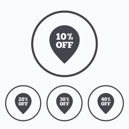 thirty percent off: Sale pointer tag icons. Discount special offer symbols. 10%, 20%, 30% and 40% percent off signs. Icons in circles.
