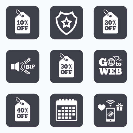 20 30: Mobile payments, wifi and calendar icons. Sale price tag icons. Discount special offer symbols. 10%, 20%, 30% and 40% percent off signs. Go to web symbol.