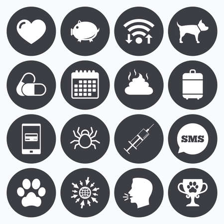 mobile sms: Wifi, calendar and mobile payments. Veterinary, pets icons. Dog paw, syringe and winner cup signs. Pills, heart and feces symbols. Sms speech bubble, go to web symbols.