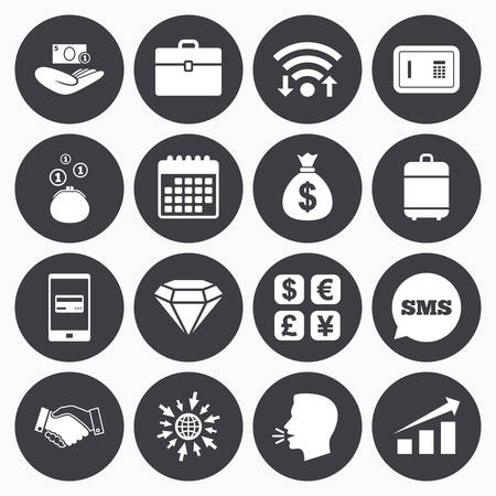 Wifi, calendar and mobile payments. Money, cash and finance icons. Handshake, safe and currency exchange signs. Chart, case and jewelry symbols. Sms speech bubble, go to web symbols.