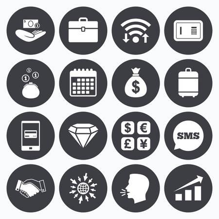 Wifi、カレンダーや携帯電話の支払い。お金、現金、金融のアイコン。ハンドシェイク、セーフティ ボックス、外貨交換サインです。グラフ、ケース、ジュエリーのシンボル。Sms 吹き出し、web シンボルに移動します。 写真素材 - 54335078