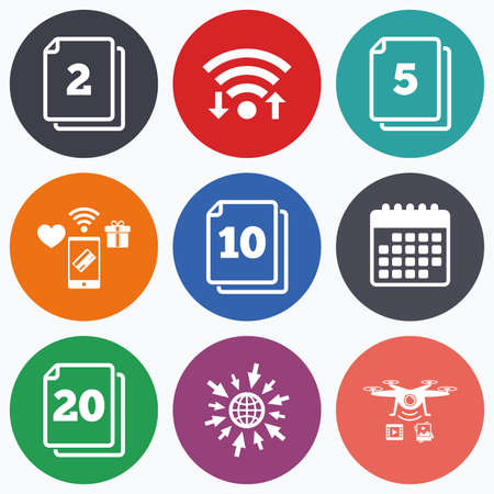 2 5: Wifi, mobile payments and drones icons. In pack sheets icons. Quantity per package symbols. 2, 5, 10 and 20 paper units in the pack signs. Calendar symbol.