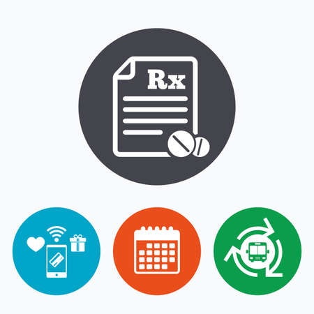 rx: Medical prescription Rx sign icon. Pharmacy or medicine symbol. With round tablets. Mobile payments, calendar and wifi icons. Bus shuttle.
