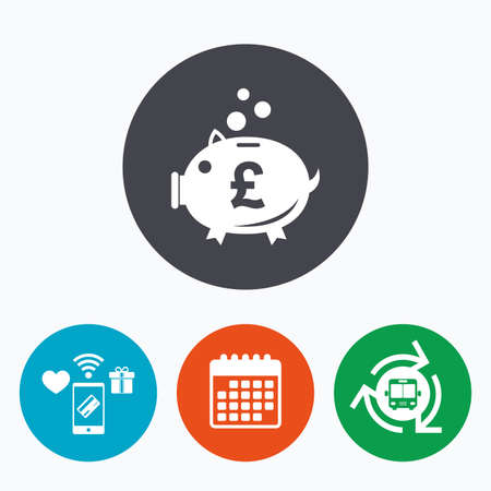 pound symbol: Piggy bank sign icon. Moneybox pound symbol. Mobile payments, calendar and wifi icons. Bus shuttle.