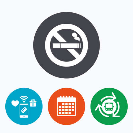 no symbol: No Smoking sign icon. Cigarette symbol. Mobile payments, calendar and wifi icons. Bus shuttle.