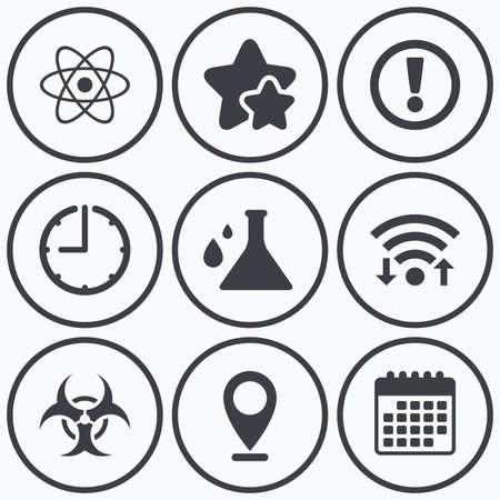 Orologio, WiFi e stelle icone. Attenzione e rischio biologico icone. Chimica segno pallone. simbolo di atomo. simbolo del calendario.