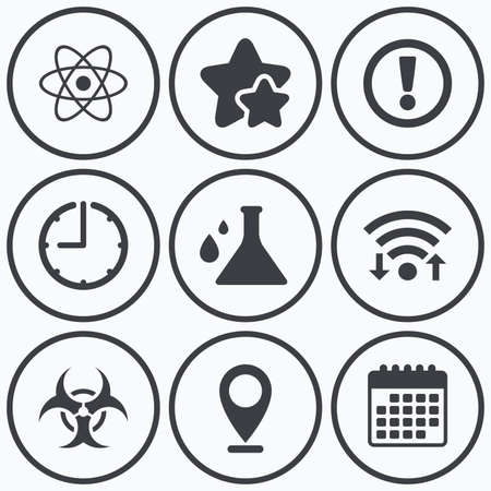 riesgo biologico: Reloj, WiFi y estrellas iconos. Atención y de riesgo biológico iconos. signo frasco de la química. Símbolo del átomo. símbolo de calendario.