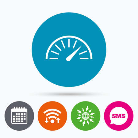 tachometer: Wifi, Sms and calendar icons. Tachometer sign icon.