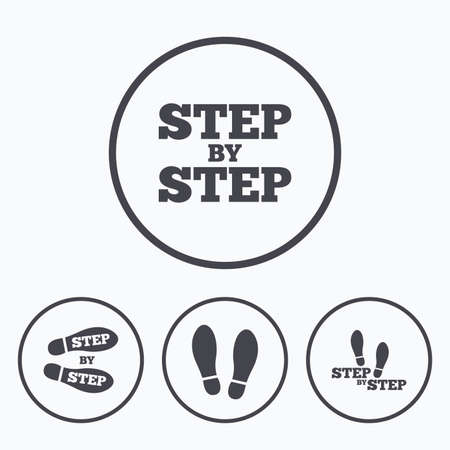 Passo dopo passo icone. simboli scarpe Footprint. Istruzioni per l'uso concetto. Icone in tondo. Vettoriali