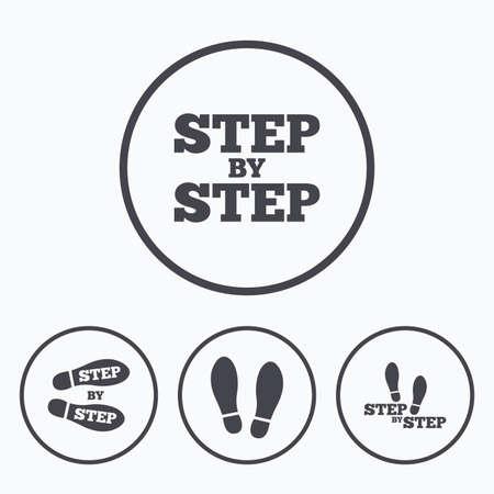 Stap voor stap pictogrammen. Footprint schoenen symbolen. Instructiegids concept. Pictogrammen in cirkels. Vector Illustratie