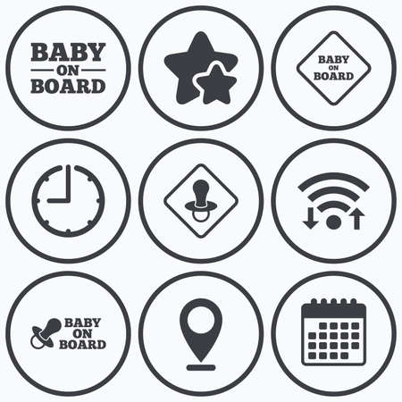 nipple: Clock, wifi and stars icons. Baby on board icons. Infant caution signs. Nipple pacifier symbol. Calendar symbol.