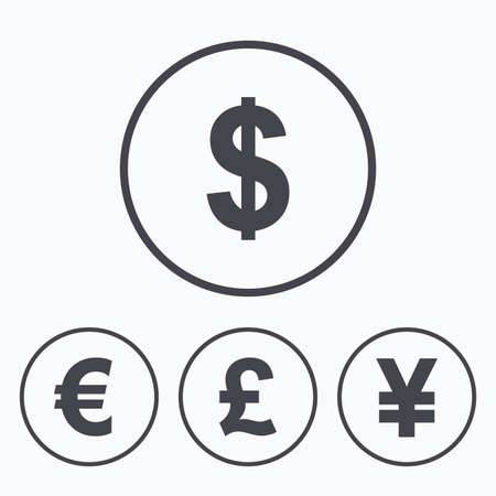 jpy: Dollar, Euro, Pound and Yen currency icons. USD, EUR, GBP and JPY money sign symbols. Icons in circles.