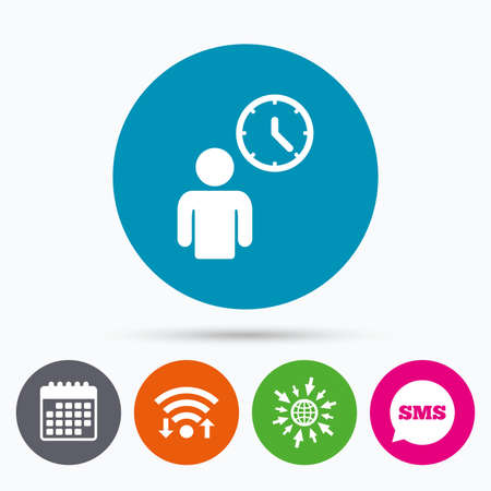 queue: Wifi, Sms and calendar icons. Person waiting sign icon. Time symbol. Queue. Go to web globe. Illustration