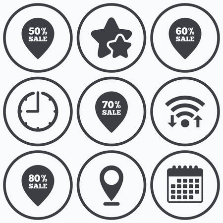 60 70: Clock, wifi and stars icons. Sale pointer tag icons. Discount special offer symbols. 50%, 60%, 70% and 80% percent sale signs. Calendar symbol. Illustration