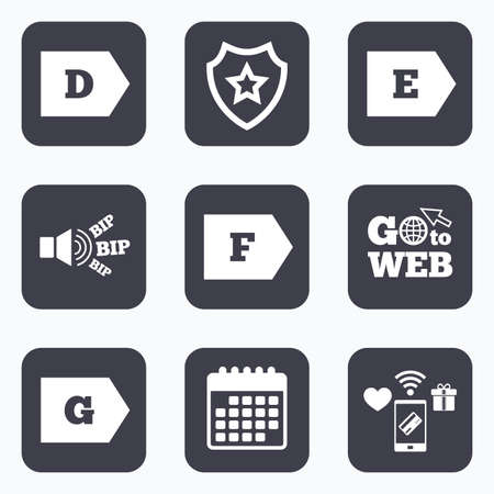 d mark: Mobile payments, wifi and calendar icons. Energy efficiency class icons. Energy consumption sign symbols. Class D, E, F and G. Go to web symbol.