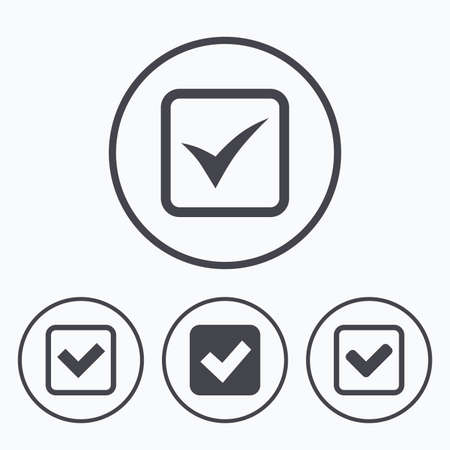 checkbox: Check icons. Checkbox confirm squares sign symbols. Icons in circles.