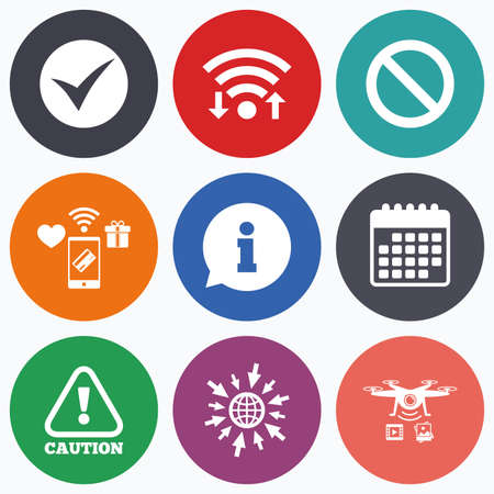 button set: Wifi, mobile payments and drones icons. Information icons. Stop prohibition and attention caution signs. Approved check mark symbol. Calendar symbol.