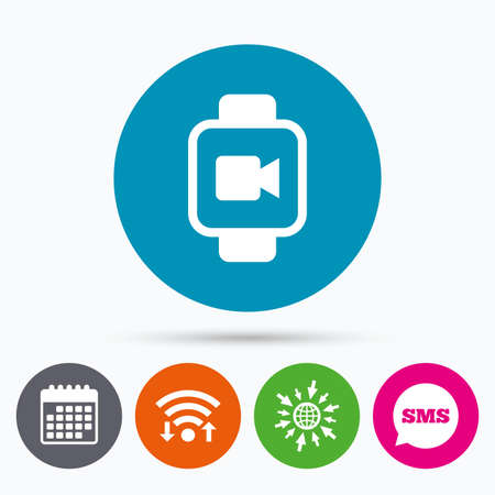watch video: Wifi, Sms and calendar icons. Smart watch sign icon. Wrist digital watch. Video camera symbol. Go to web globe.