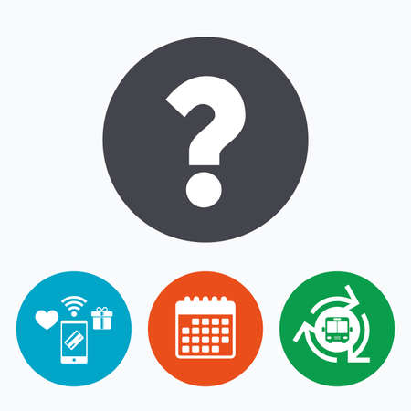 faq: Question mark sign icon. Help symbol. FAQ sign. Mobile payments, calendar and wifi icons. Bus shuttle.
