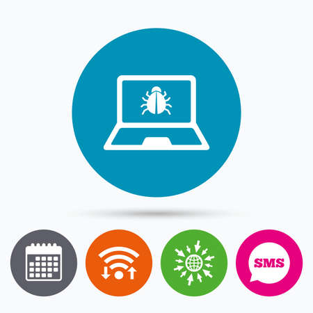 Wifi, Sms and calendar icons. Laptop virus sign icon. Notebook software bug symbol. Go to web globe.