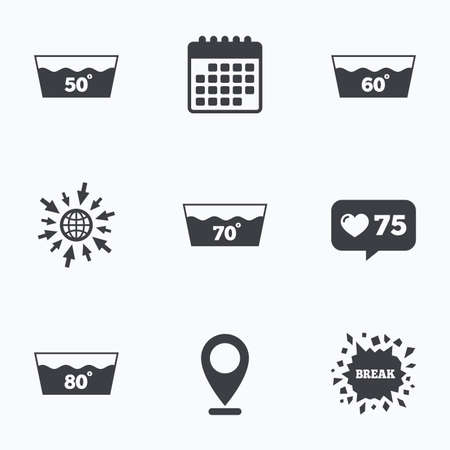 washhouse: Calendar, like counter and go to web icons. Wash icons. Machine washable at 50, 60, 70 and 80 degrees symbols. Laundry washhouse signs. Location pointer.