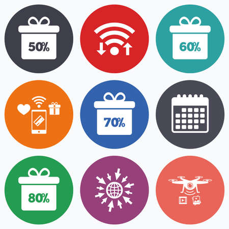 60 70: Wifi, mobile payments and drones icons. Sale gift box tag icons. Discount special offer symbols. 50%, 60%, 70% and 80% percent discount signs. Calendar symbol.
