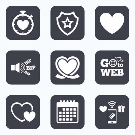 palpitation: Mobile payments, wifi and calendar icons. Heart ribbon icon. Timer stopwatch symbol. Love and Heartbeat palpitation signs. Go to web symbol.