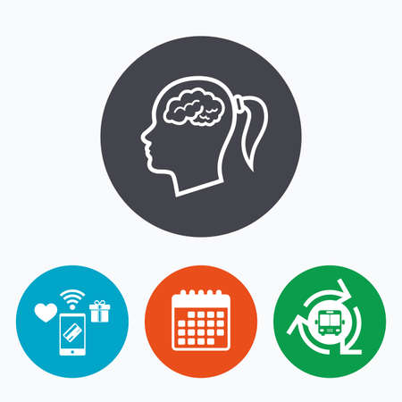 credit card business woman: Head with brain sign icon. Female woman human head think symbol. Mobile payments, calendar and wifi icons. Bus shuttle.