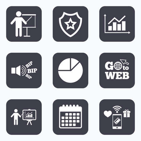 demand: Mobile payments, wifi and calendar icons. Diagram graph Pie chart icon. Presentation billboard symbol. Supply and demand. Man standing with pointer. Go to web symbol. Illustration