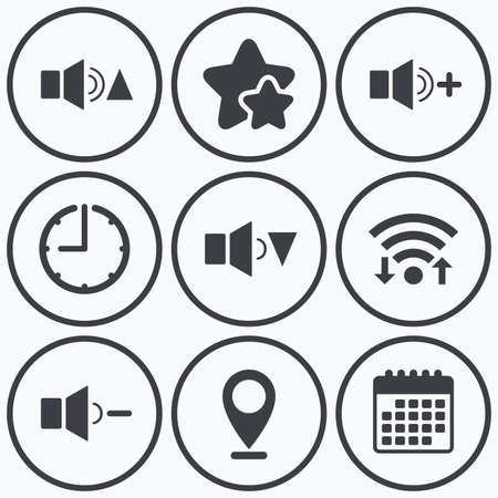 quieter: Clock, wifi and stars icons. Player control icons. Sound louder and quieter signs. Dynamic symbol. Calendar symbol. Illustration