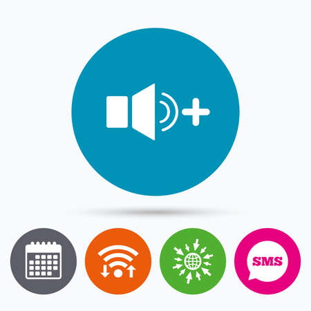 louder: Wifi, Sms and calendar icons. Speaker volume louder sign icon. Sound symbol. Go to web globe.