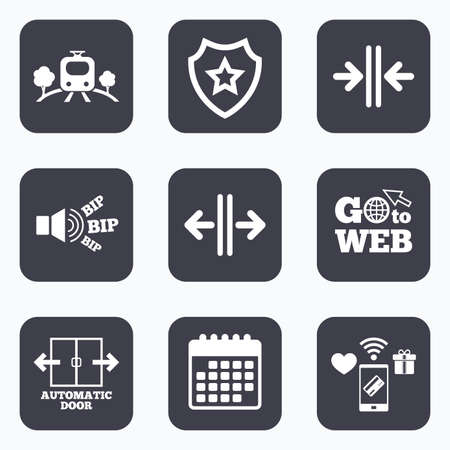 way to go: Mobile payments, wifi and calendar icons. Train railway icon. Overground transport. Automatic door symbol. Way out arrow sign. Go to web symbol.