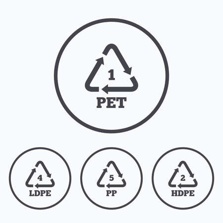 thermoplastic: PET 1, Ld-pe 4, PP 5 and Hd-pe 2 icons. High-density Polyethylene terephthalate sign. Recycling symbol. Icons in circles.