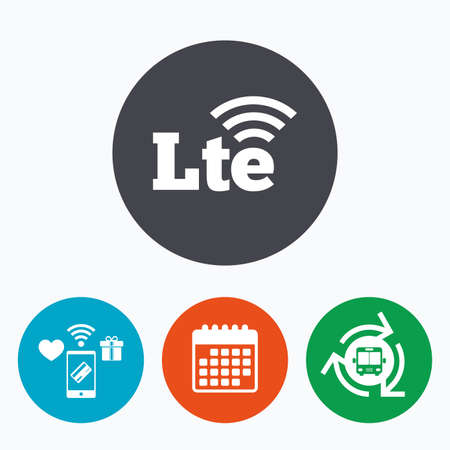 wireless communication: 4G LTE sign icon. Long-Term evolution sign. Wireless communication technology symbol. Mobile payments, calendar and wifi icons. Bus shuttle.