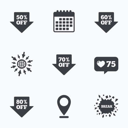 50 to 60: Calendar, like counter and go to web icons. Sale arrow tag icons. Discount special offer symbols. 50%, 60%, 70% and 80% percent off signs. Location pointer.