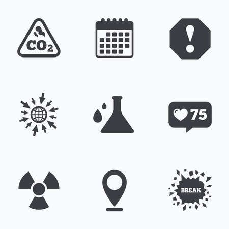 danger carbon dioxide  co2  labels: Calendar, like counter and go to web icons. Attention and radiation icons. Chemistry flask sign. CO2 carbon dioxide symbol. Location pointer.