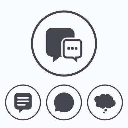 communication icons: Chat icons. Comic speech bubble signs. Communication think symbol. Icons in circles.