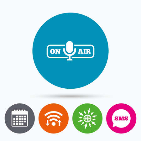 live stream sign: Wifi, Sms and calendar icons. On air sign icon. Live stream symbol. Microphone symbol. Go to web globe.