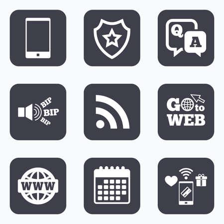 control de calidad: Los pagos móviles, WiFi y calendario iconos. icono de pregunta respuesta. Smartphone y Q & A de chat de voz símbolos de burbujas. Internet globo en RSS y signos. Ir a la comunicación símbolo web. Vectores