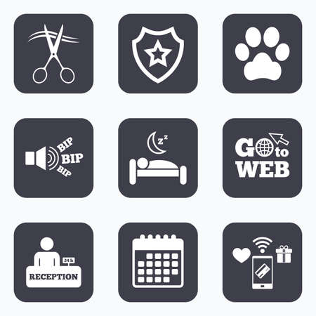 quiet room: Mobile payments, wifi and calendar icons. Hotel services icons. With pets allowed in room signs. Hairdresser or barbershop symbol. Reception registration table. Quiet sleep. Go to web symbol.