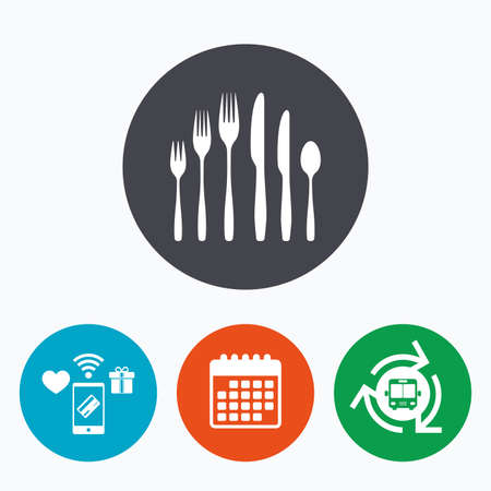 teaspoon: Dessert fork, knife, teaspoon sign icon. Cutlery collection set symbol. Mobile payments, calendar and wifi icons. Bus shuttle.