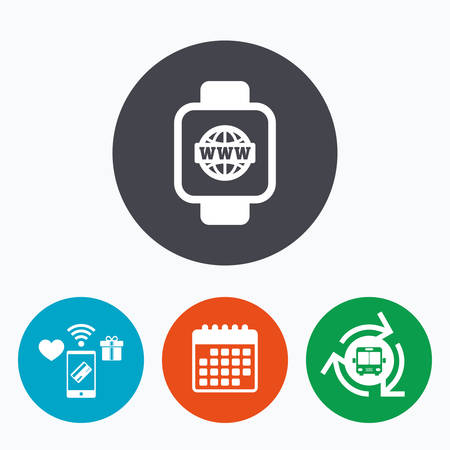 www arm: Smart watch sign icon. Wrist digital watch. Globe internet symbol. Mobile payments, calendar and wifi icons. Bus shuttle.