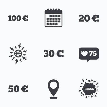 20 30: Calendar, like counter and go to web icons. Money in Euro icons. 100, 20, 30 and 50 EUR symbols. Money signs Location pointer.
