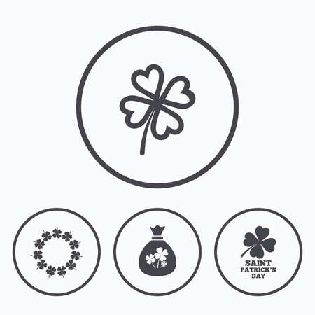 clover buttons: Saint Patrick day icons. Money bag with clover sign. Wreath of quatrefoil clovers. Symbol of good luck. Icons in circles.