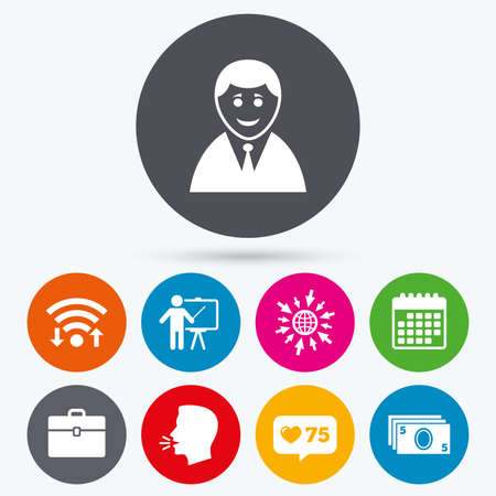 profile silhouette: Wifi, like counter and calendar icons. Businessman icons. Human silhouette and cash money signs. Case and presentation symbols. Human talk, go to web. Illustration