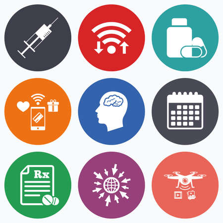 prescription bottle: Wifi, mobile payments and drones icons. Medicine icons. Medical tablets bottle, head with brain, prescription Rx and syringe signs. Pharmacy or medicine symbol. Calendar symbol.
