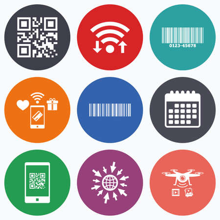 barcode scan: Wifi, mobile payments and drones icons. Bar and Qr code icons. Scan barcode in smartphone symbols. Calendar symbol.