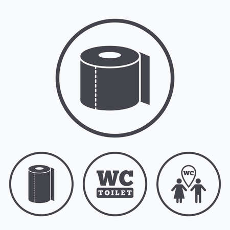 gents: Toilet paper icons. Gents and ladies room signs. Paper towel or kitchen roll. Man and woman symbols. Icons in circles.