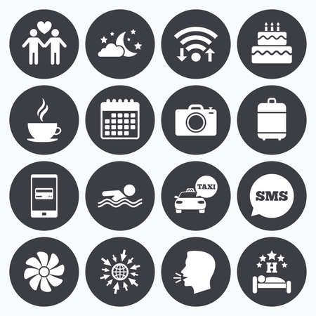 hotel pool: Wifi, calendar and mobile payments. Hotel, apartment service icons. Swimming pool. Ventilation, birthday party and gay-friendly symbols. Sms speech bubble, go to web symbols.