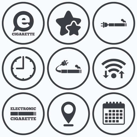 e cigarette: Clock, wifi and stars icons. E-Cigarette with plug icons. Electronic smoking symbols. Speech bubble sign. Calendar symbol. Illustration